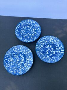 Trio Vintage Stangl Town & Country Hand Painted B&B Plates Blue & White Sponge