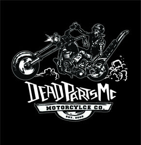 DeadPartsMC Dead Parts MC chopper panhead biker black skull rider Harley t-shirt