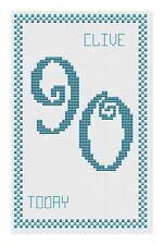 90TH ANNIVERSAIRE BLEU Kit de cartes de point de croix par florashell