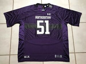 NWT UNDER ARMOUR Northwestern Wildcats #51 NCAA PURPLE Football Jersey Men's 3XL