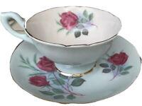 FOLEY heathcote tea cup and saucer red roses pale blue teacup England 1940's