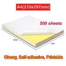 500 Sheets A4 Glossy Self-Adhesive Sticker Label Blank Laser Print Paper Gloss