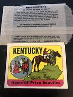 Vintage RARE decal Kentucky Home Of Prize Beauties Baxter Lane Co NEW ORIGINAL