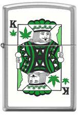 High King of Pot Cannabis Poker Playing Card Satin Chrome Zippo Lighter