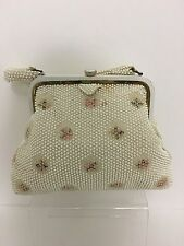 Vintage Corde Bead Evening Bag Embroidered Flower Purse