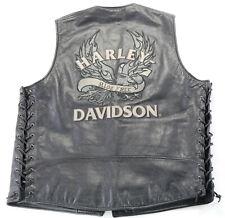 mens harley davidson vest L Defiance ride free black lace up bar snap