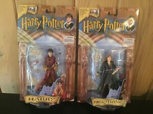 2 Harry Potter Action Figures - Harry, Hermione Wizard Collection Mattel 2001