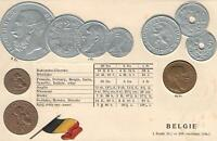 1900's VINTAGE BELGIUM EMBOSSED COPPER SILVER & GOLD COINS & FLAG POSTCARD