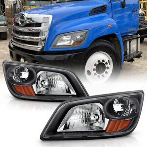 For 06-14 Hino 238 258 268 338 / 06-10 145 165 185 Headlight Factory Style Black