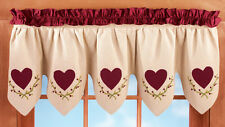 Scalloped Heart Window Valance Country Decor Curtain Burgundy Primitive Berry