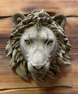 STONE GARDEN SMALL NATURAL DETAILED LION HEAD WALL HANGING PLAQUE ORNAMENT