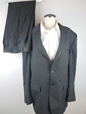 CHAPS BRAND MENS BLACK PINSTRIPE 2 BUTTON 2 PIECE SUIT PLEATED CUFFS 42R 36 X 28
