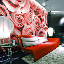 Romantic Red Rose Customized Crystal Glass Art Wallpaper Decor Maural Tiles