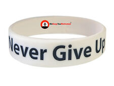 NEVER GIVE UP (White) Wristband Motivational Inspirational Ionic Negative Ion