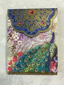 POOCH & SWEETHEART INDIGO PEACOCK MAGNETIC NOTE PAD EMBELLISH W/ GOLD FOIL/GEMS