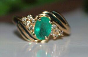 14K Y Gold Natural Emerald & Diamonds Ring S 6.5Engagement Birthday Anniversary