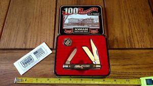 SCHRADE Old Timer USA 34OT Stockman Pocket Knife 100Th Anniversary w/Tin