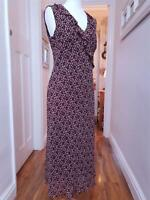 VINTAGE LAURA ASHLEY Tea Midi Dress Ditsy Tiny Burgundy Slip Floral Print, UK 10
