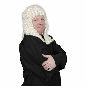 Adult Mens Judge Costume Accessory White Deluxe Wig