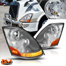 For 04-18 Volvo VN VNL LED DRL+Chasing Turn Signal Dual Projector Headlight/Lamp