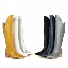 45/46/47 Women Motor Pull On Pointy Toe Chunky Low Heel Outdoor Overknee Boots L