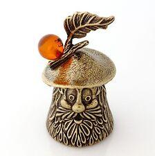 """Mushroom Brass Bell Baltic Amber Decorative Miniature Russian Souvenir 1.8"""""""