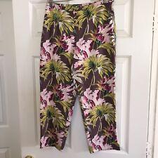 Womens Tommy Bahama Silk Blend Floral Capri Pants 8 Stretch Nice Tropical Tiki