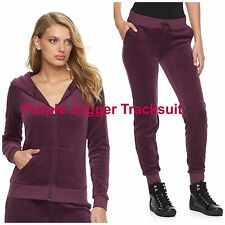 NWT JUICY COUTURE Velour Tracksuit Solid Jacket Jogger Pants Gym Women Purple M