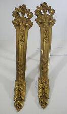 Ancienne paire de support de tringle à rideaus en bronze doré antique