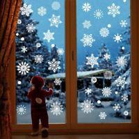 Christmas Snowflake Window Stickers Clings White Window Decals Xmas Winter Decor