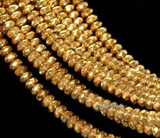 """GOLD HEMATITE GEMSTONE GOLD FACETED RONDELLE 8X5MM LOOSE BEADS 16"""""""