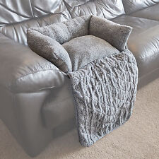 Small Quilted Grey Fleece Fold Out Pet Bed Cat/Dog Sofa/Couch/Chair Protector
