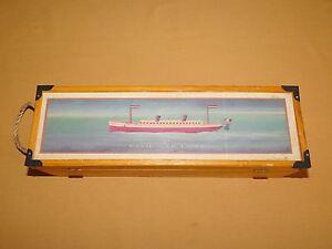 """VINTAGE SHIP BOAT 13 1/2"""" LONG THE CLOCKWORK PASSENGER LINER GREENBRIER WOOD BOX"""