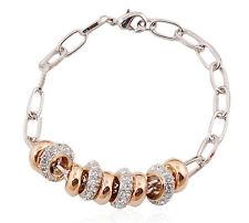 Elegante argento e oro cerchi con strass Bracciale con Charm bb40
