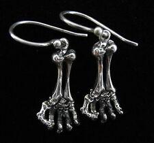 Sterling Silver Earrings Aq11 Halloween Goth Feel My Bones Skeleton Hand .925