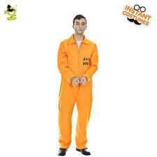 e915bdd9faf3 Adults Men Orange Prisoner Uniform for Halloween Cosplay Costumes Fancy  Jumpsuit