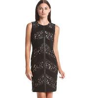 New Calvin Klein Lace Sheath Bodycon Midi Dress Black Feather Sleeveless 2 4 6 8
