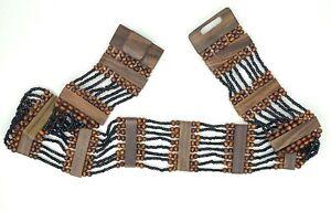 "Black & Brown 2.5"" Wide Belt Elastic Stretch Glass & Wood Beads Wooden Buckle"