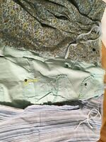 Lot of 3 Misses Cotton Crop Capri Pants Medium Blues And Greens