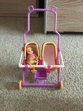 Barbie Mattel Midge Happy Family Twins Buggy Pram Stroller, Baby Krissy VINTAGE