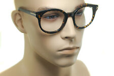 TOM FORD FT5491 052 54mm Men Women OVERSIZED Large Round Eyeglasses BROWN HAVANA