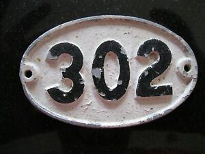 Original Reclaimed Cast Metal Alloy Oval Number, House, Gate, Workshop 302
