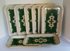 "8 Vintage Tin Serving Trays Green Scroll Design Tea Party Wedding 14"" X 8 3/4"""
