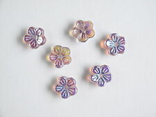 6 x Czech Pressed Flowers Light Amethyst AB 10mmx3mm