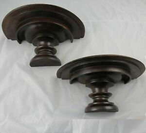 """Pair of Antique Victorian Solid Walnut Wall Sconce Shelves 13-3/8"""" x 6"""""""