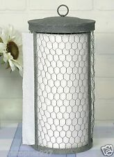 Paper Towel Dispenser Holder Chicken Wire Counter Top Country Vintage Home Decor