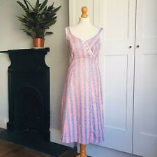 Vintage 70s Red Blue White Spot Stripe Print Empire Line Summer Dress 10