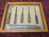 Assorted tools lot vintage tools in a shadow display box, screwdrivers, files