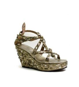 ALAIA Bronze Leather Strappy Studded Wedge Sandal Size 41Gently Used