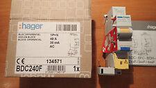 Bloc interrupteur différentiel HAGER BDC240F - 40A - 30Ma - type AC